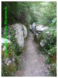 Forêt de Nébias, roches formant un chemin